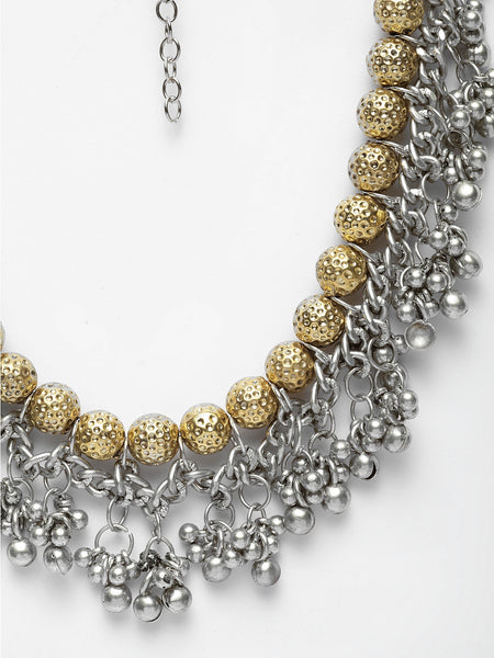 Infuzze Alloy Silver-Plated & Gold-Toned Oxidised Necklace- W042