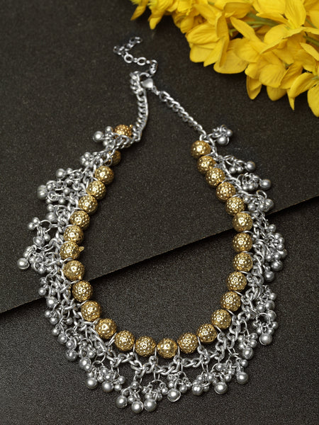 Infuzze Alloy Silver-Plated & Gold-Toned Oxidised Necklace- W043