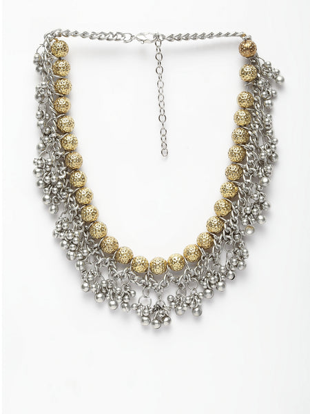 Infuzze Alloy Silver-Plated & Gold-Toned Oxidised Necklace- W041