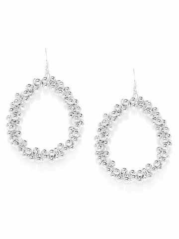 Infuzze Silver Toned Beaded Circular Drop Earrings   - W043