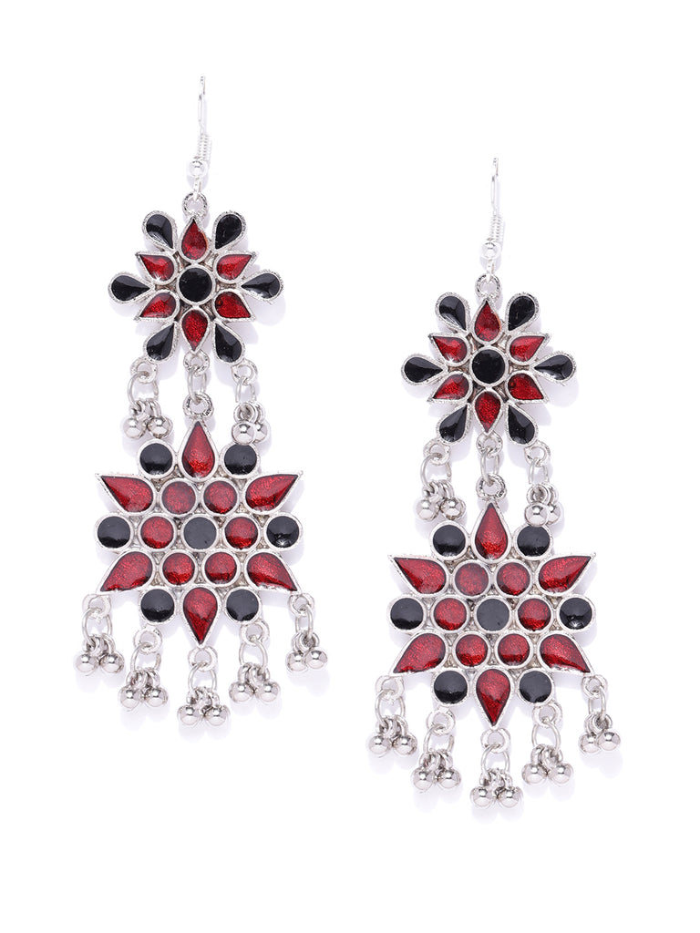 Infuzze Maroon & Oxidised Silver Toned Enamelled Floral Drop Earrings   - W045