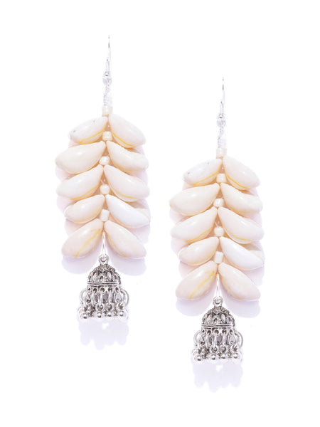 Infuzze Cream Coloured & Oxidised Silver Toned Sea Shell Handcrafted Drop Earrings  - W046