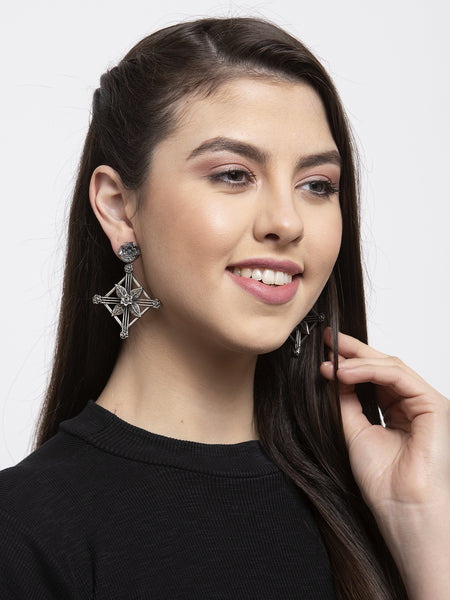 Infuzze Designer Floral Silver Look Alike Earrings