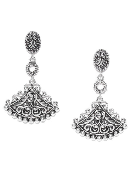 Infuzze Silver-Toned Oxidised Classic Drop Earrings - X002