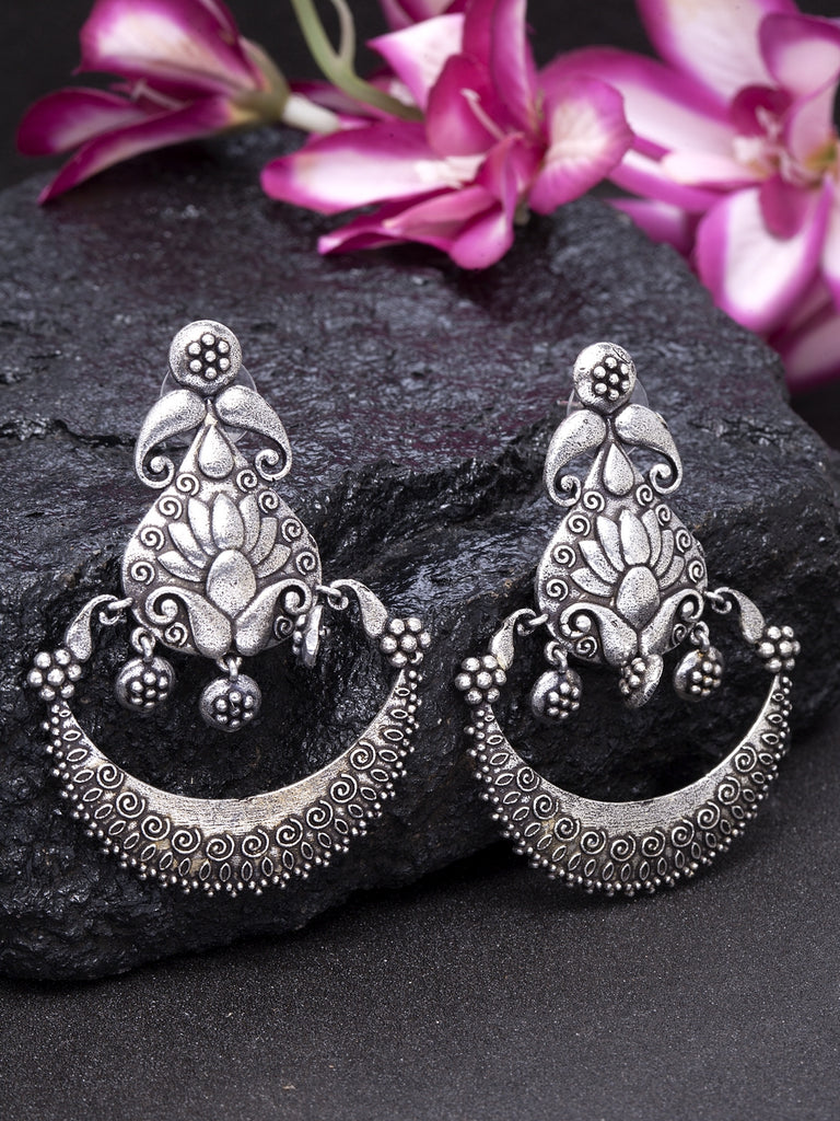 Infuzze Silver-Toned Crescent Shaped Brass-Plated Oxidized Drop Earrings - X004
