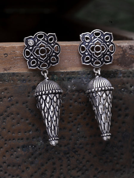 Infuzze Silver-Toned Oxidised Brass Plated Contemporary Drop Earrings - X005