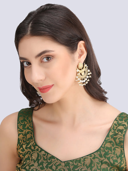 Infuzze Golden Contemporary Earrings