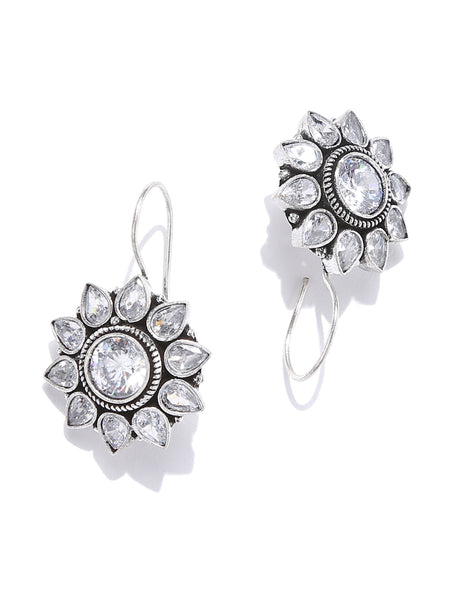 Infuzze Silver Stone Studded Earrings