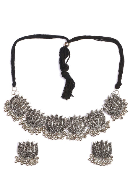 Infuzze Silver-Plated Oxidised Lotus Shaped Jewellery Set - Z0051