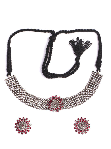 Infuzze Silver-Plated Oxidised Red Stoned Jewellery Set - Z0080