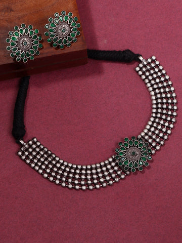 Infuzze Silver-Plated Oxidised Green Stoned Jewellery Set - Z0081