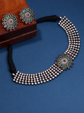 Infuzze Silver-Plated Oxidised Muti Stoned Jewellery Set - Z0082