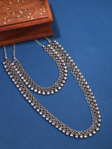 Infuzze Silver-Plated Oxidised Jewellery Set (Set of 2) - Z0084