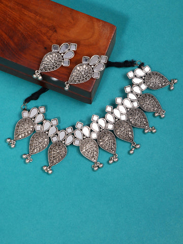 Infuzze Silver-Plated Oxidised Mirrored Jewellery Set - Z0085