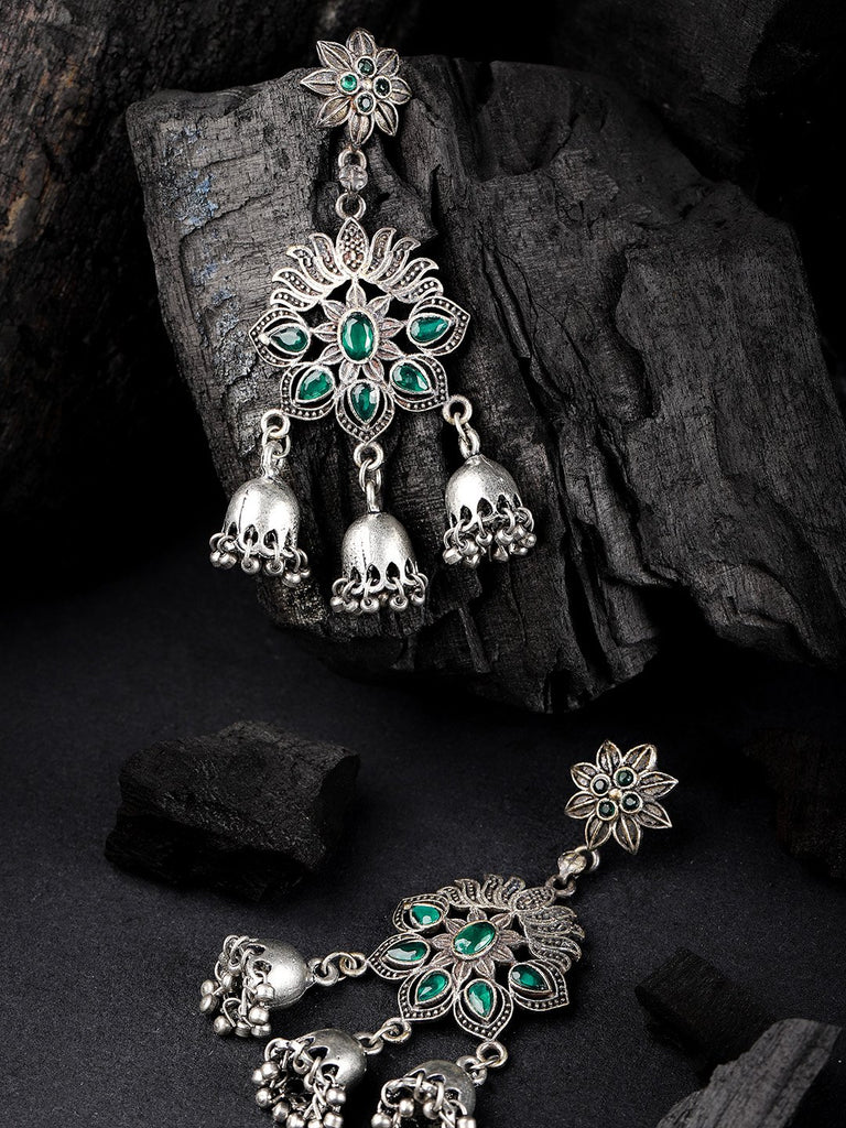 Green & Silver-Plated Handcrafted Oxidised Floral Drop Stone Studded Earrings