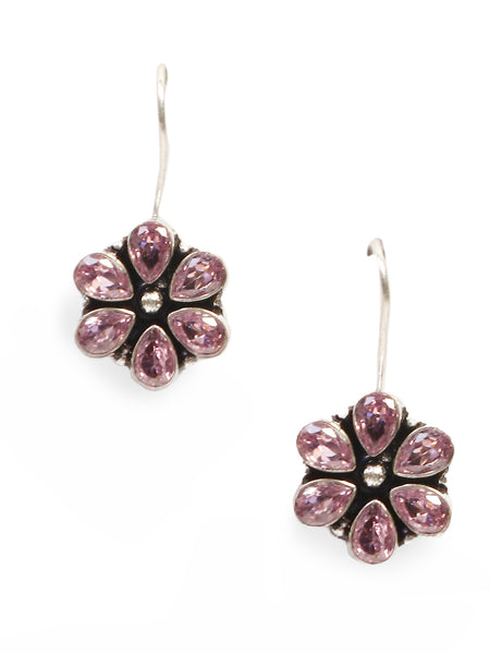 Infuzze Silver-Plated Oxidised Pink Stoned Brass Drop Earrings  - Z0058