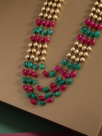 Magenta & Green Brass-Plated Beaded Layered Necklace