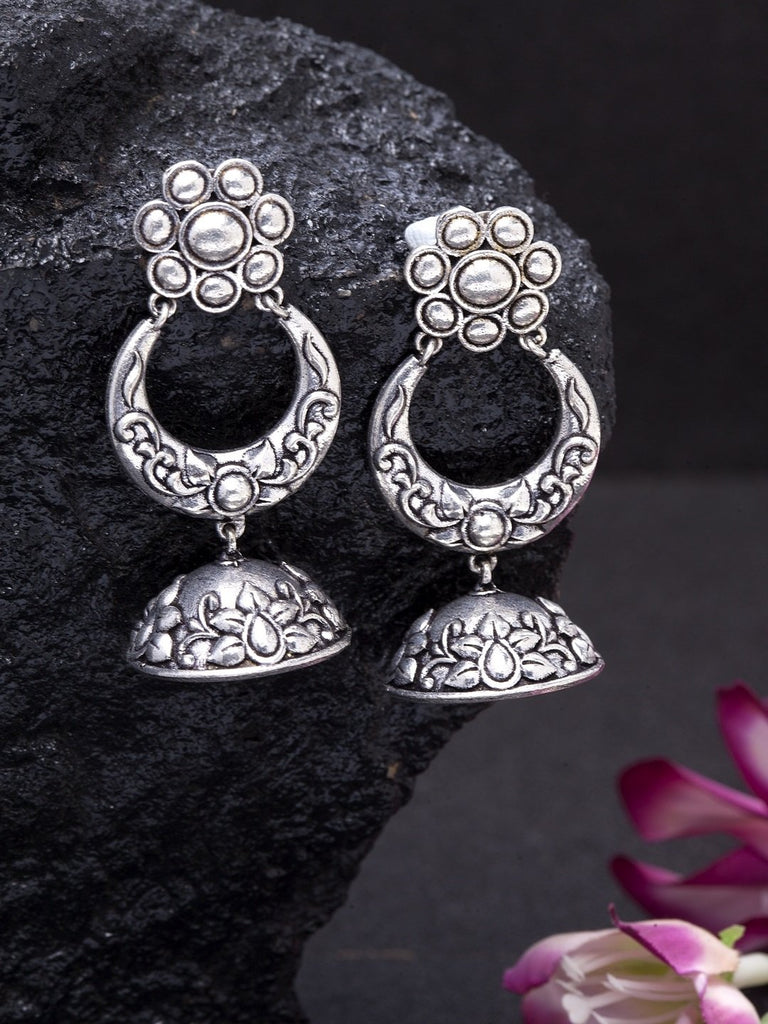 Oxidised Silver-Toned Dome Shaped Jhumkas