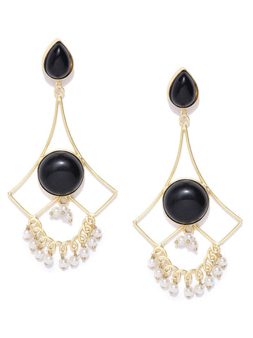 Black Gold-Plated Stone-Studded Geometric Handcrafted Drop Earrings
