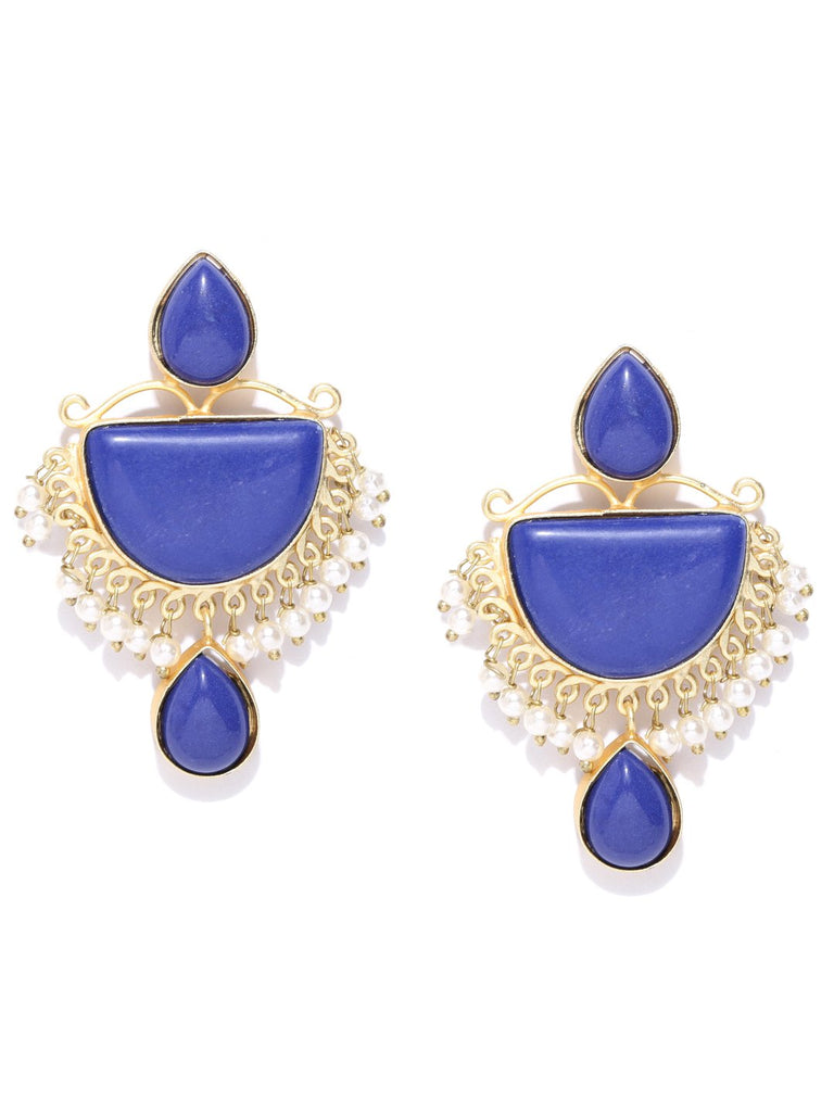 Blue Gold-Plated Stone-Studded Geometric Handcrafted Drop Earrings