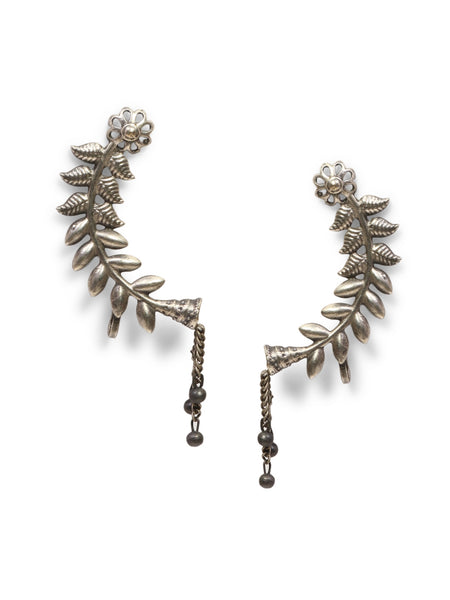 Infuzze Silver-Plated Oxidised Brass Ear Cuff- Z0095