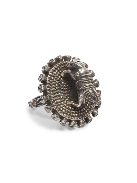 Infuzze Silver-Plated Oxidised Brass Ring - Z0043