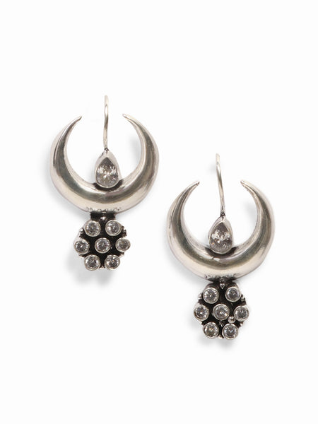 Infuzze Silver-Plated Oxidised Stoned Brass Drop Earring - Z0062