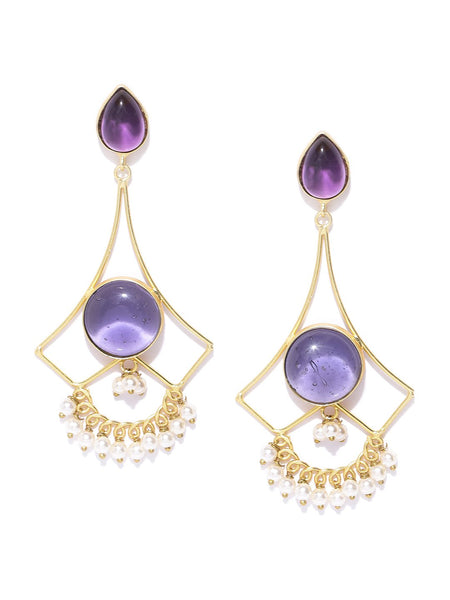 Purple Gold-Plated Stone-Studded Geometric Handcrafted Drop Earrings