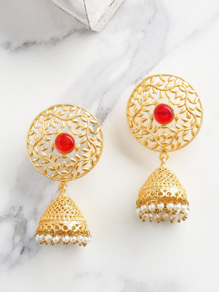 Red Gold-Plated Handcrafted Stone Studded Beaded Dome Shaped Jhumkas