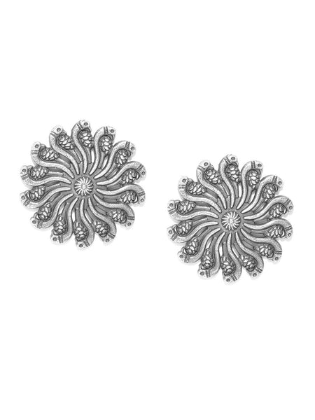 Oxidised Silver-Plated Textured Peacock Shaped Oversized Studs