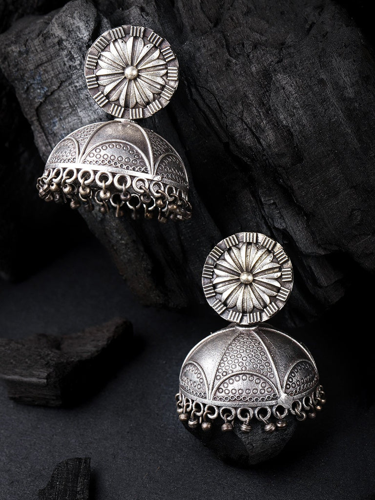 Silver-Plated Oxidised Dome Shaped Jhumkas