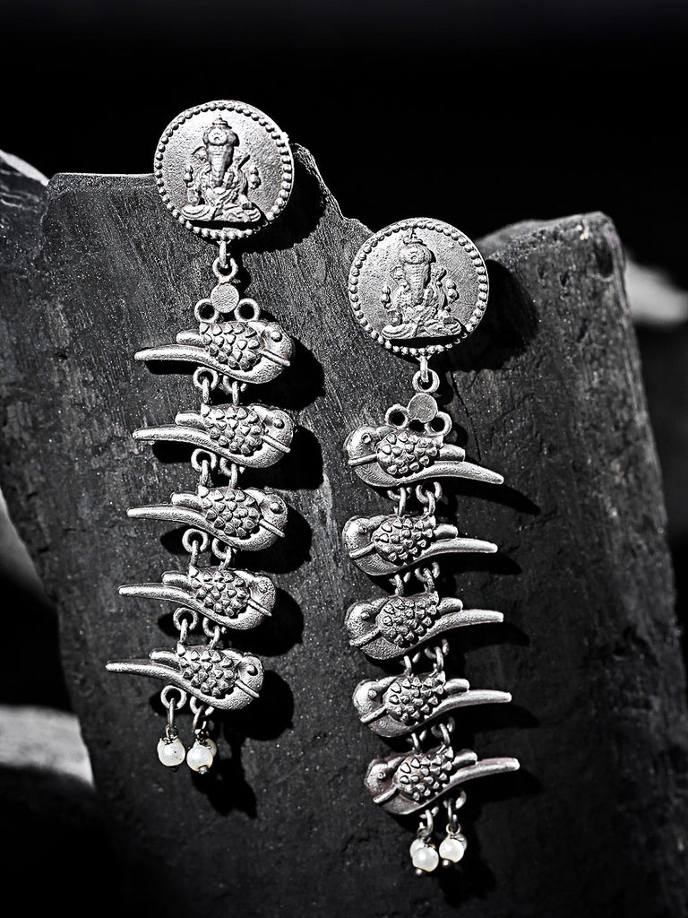 Oxidised Silver-Plated Beaded Ganesha Textured Classic Drop Earrings