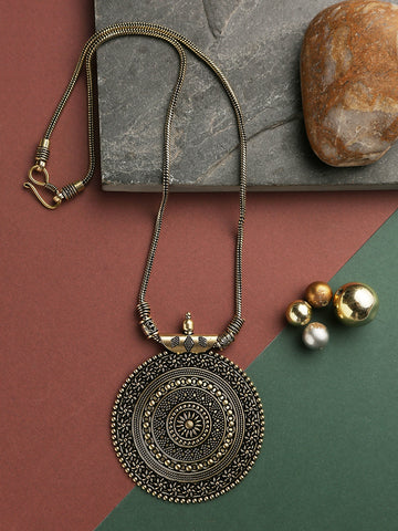 Infuzze Golden Oxidized Pendant Necklace