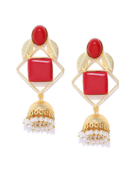 Red Gold-Plated Stone-Studded Geometric Handcrafted Drop Earrings