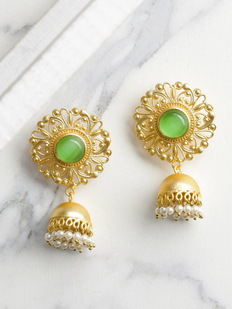 Green Gold-Plated Handcrafted Stone Studded Beaded Dome Shaped Jhumkas