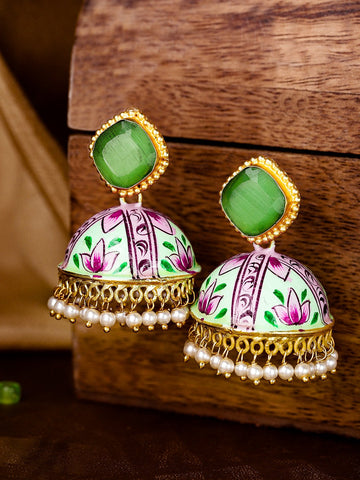 Sea Green & Pink Gold-Plated Hand-Painted Dome Shaped Jhumkas