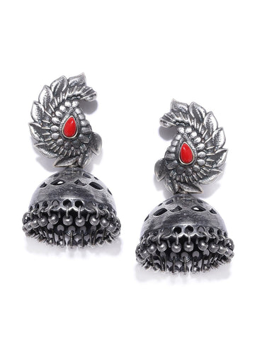 Red Oxidised Silver-Plated Stone-Studded Dome Shaped Jhumkas