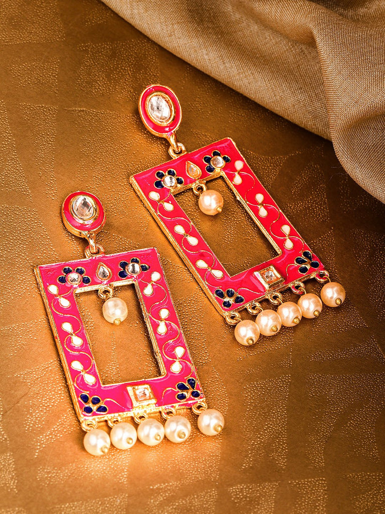 Pink & Off-White Gold-Plated Meenakari Beaded Geometric Drop Earrings