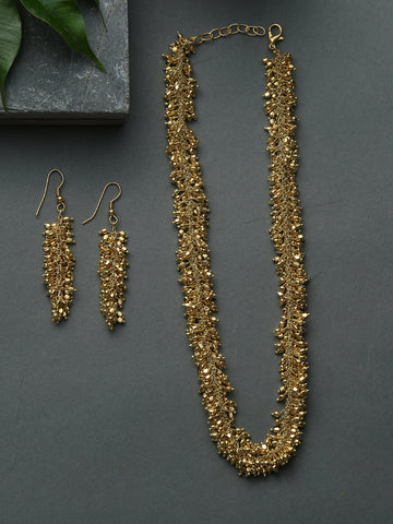 Infuzze Golden Handcrafted Necklace set