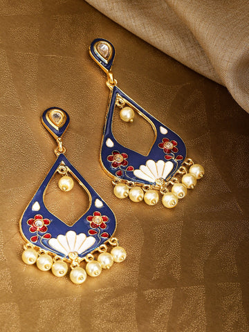 Navy Blue & Cream-Coloured Gold-Plated Beaded Meenakari Teardrop Shaped Earrings