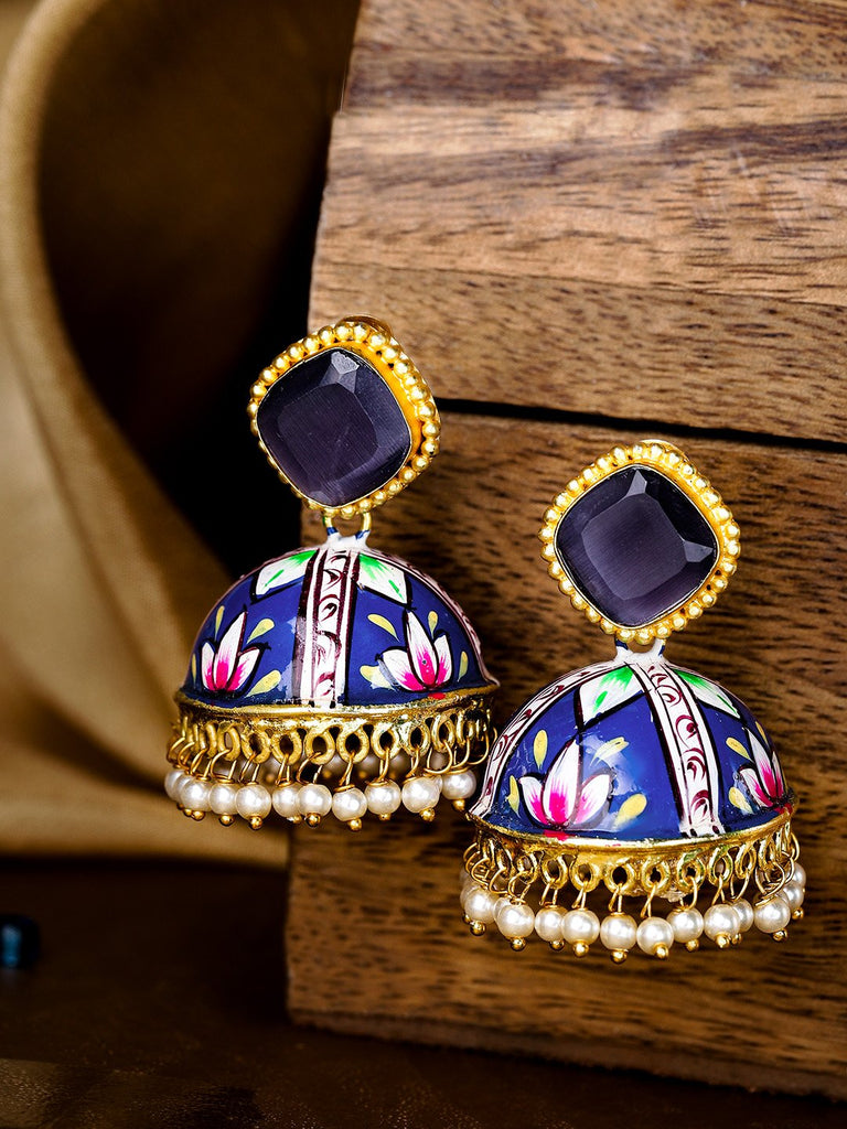Navy Blue & Pink Gold-Plated & Hand Painted Dome Shaped Beaded Jhumkas