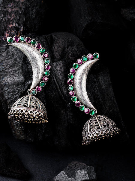 Green & Silver-Toned Stone Studded Oxidised Crescent Shaped Jhumkas