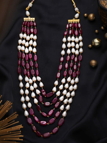 Maroon Layered Pearl Necklace