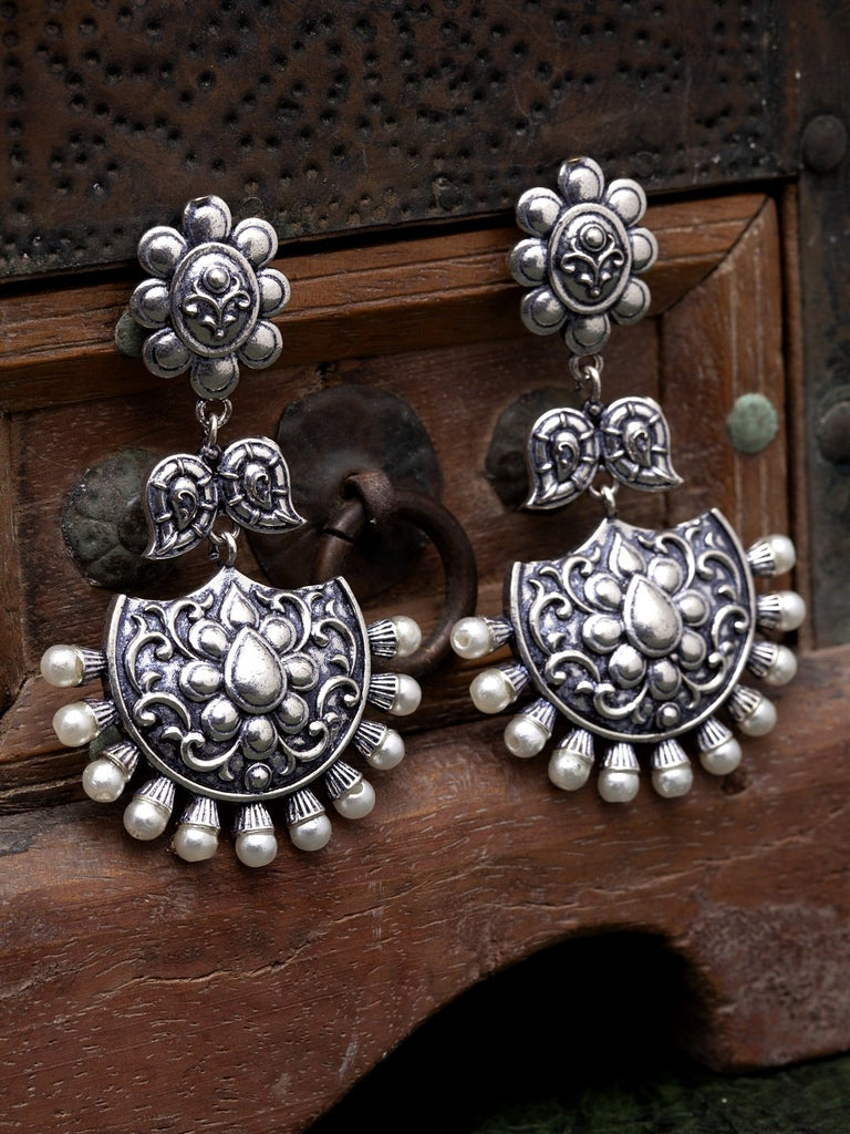 Oxidised Silver-Toned & White Brass-Plated Beaded Crescent-Shaped Chandbalis