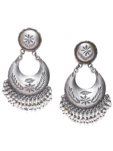 Silver-Plated Beaded Oxidised Crescent Shaped Chandbalis