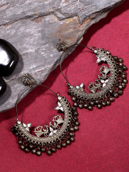 Infuzze Silver-Plated Oxidised Chandbali - Z0054