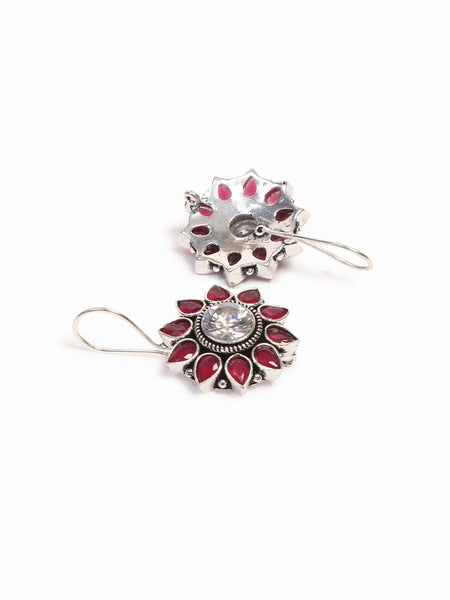 Infuzze Silver-Plated Oxidised Pink and White Stoned Brass Drop Earrings  - Z0055