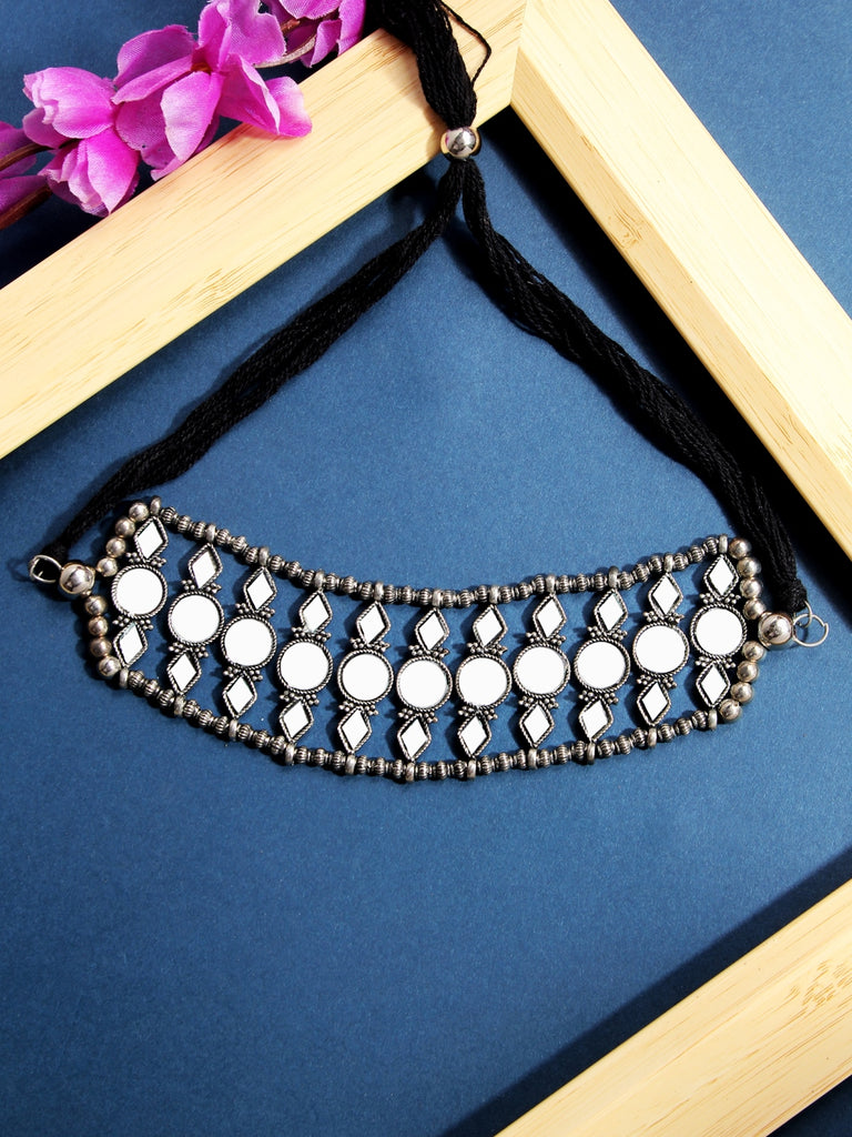 Infuzze Silver-Plated Oxidised Mirrored Choker  Alloy Necklace - Z0087