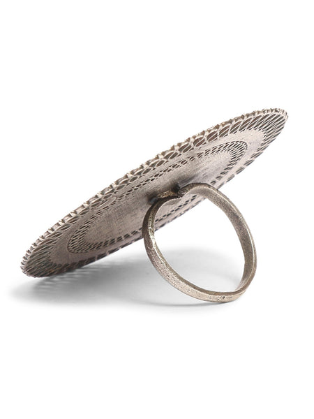 Infuzze Silver-Plated Oxidised Brass Ring - Z0078