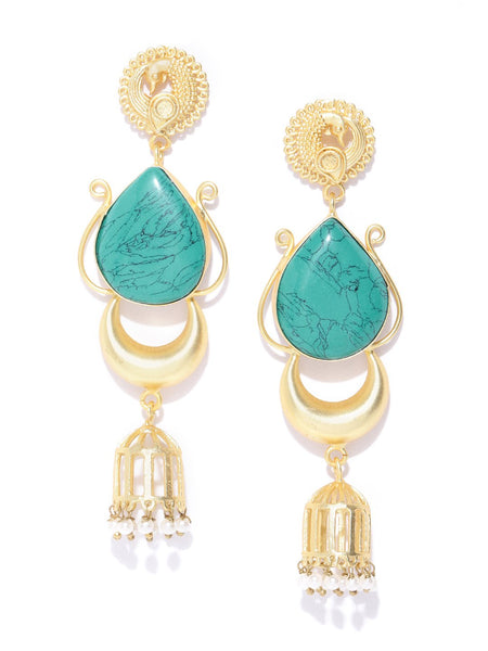 Turquoise Blue Gold-Plated Stone-Studded Teardrop Shaped Handcrafted Drop Earrings